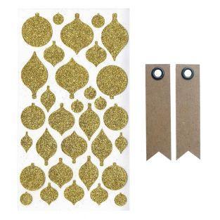 Stickers boules de Noël à paillettes...