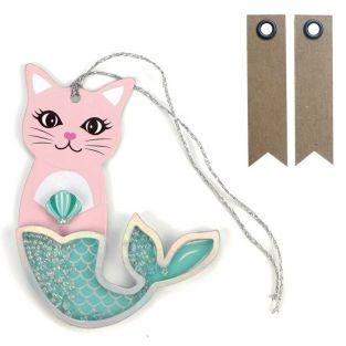 2 etiquetas 3D con purpurina - Sirena...
