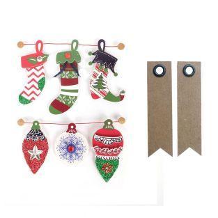 6 stickers 3D bottes de Noël 6,5 cm +...