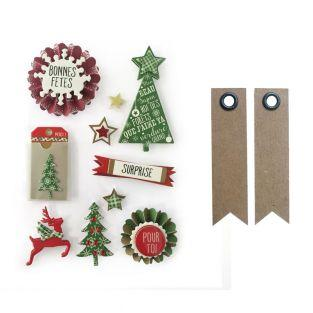 10 stickers 3D sapins de Noël 7 cm +...