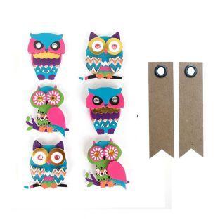 6 stickers 3D hiboux 4,5 cm + 20...