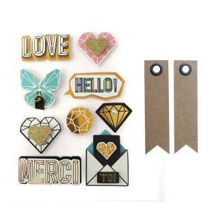 9 pegatinas 3D Hello Love 5,5 cm + 20...