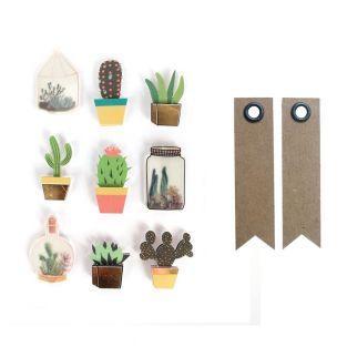 9 adhesivos 3D botánico y cactus 4 cm...