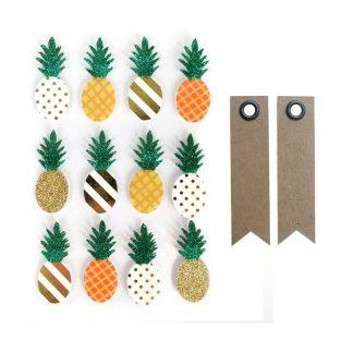 12 stickers 3D Ananas 4,5 cm + 20...
