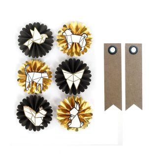 6 pegatinas 3D animales origami + 20...