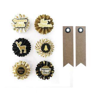 6 stickers 3D médaillons de Noël 4 cm...