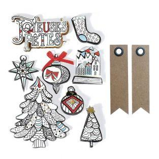 3D Christmas stickers x 8 - White...