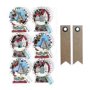 6 pegatinas 3D de Navidad - Bolas de...