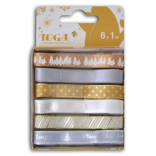 6 Christmas ribbons gold-silver
