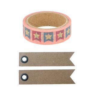 Washi Tape 5 m x 1,5 cm - Flaggen +...