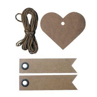 Kraft heart tags + 20 pennant kraft...