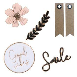 4 metal & enamel stickers - Good...