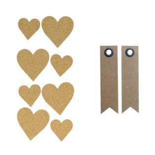 8 stickers en liège Coeurs + 20...