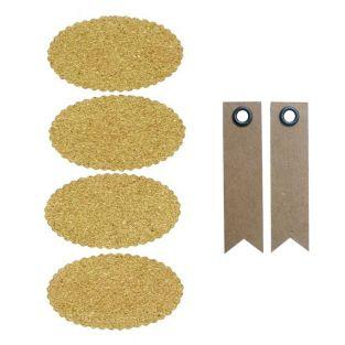 Cork stickers x 4 - Oval + 20 pennant...