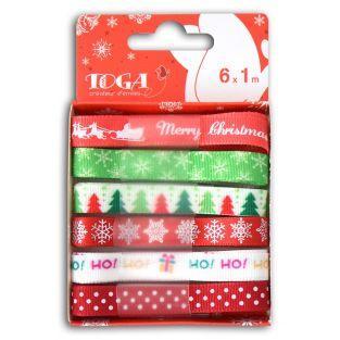 6 cintas de Navidad verde-rojo