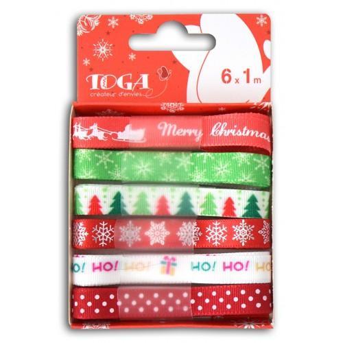 6 rubans Noël vert-rouge
