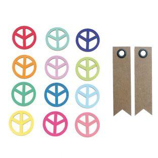 Multicolored wooden Stickers - Peace...