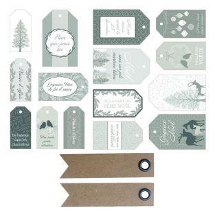15 étiquettes cadeaux de Noël Misty...