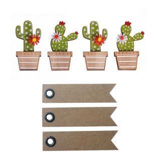 4 Holzaufkleber Kaktus 6,5 cm + 20...