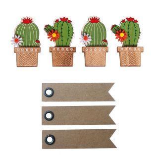 4 Holzaufkleber Kaktus 6,1 cm + 20...