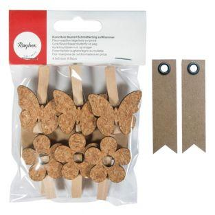Wooden Clothespins x 6 - cork flowers...