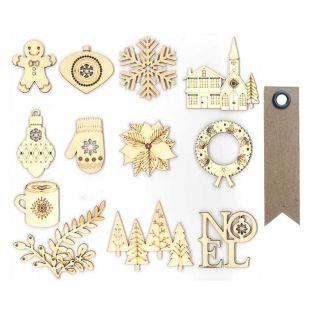 12 wooden shapes for scrapbooking -...