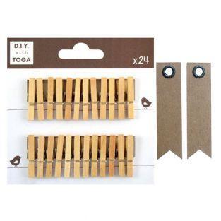 24 mini pinces à linge bois + 20...