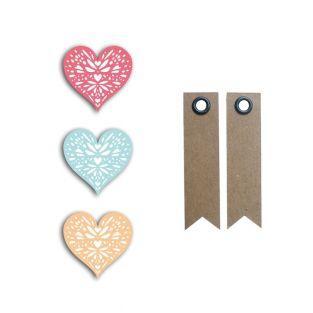 24 shapes cut hearts coral-peach-blue...
