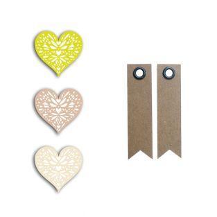24 shapes cut hearts green-gray-beige...