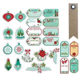 24 etiquetas perforadas Feliz Navidad...