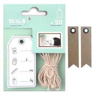 20 Birth pictogram tags + twine + 20...
