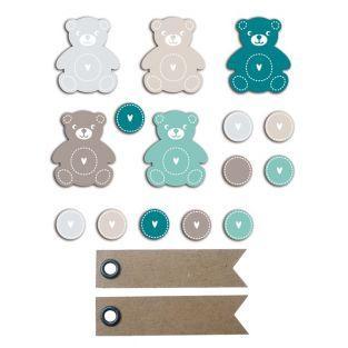 20 shapes cut teddy bear blue-gray +...