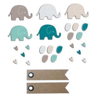 20 shapes cut elephants blue-gray +...
