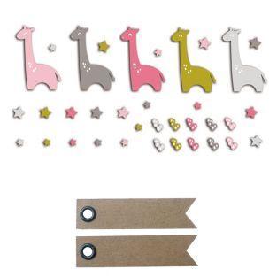 20 formes découpées girafes rose-vert...