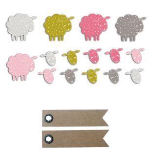 20 formes découpées moutons rose-vert...