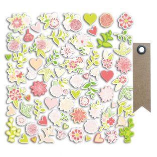 70 formes découpées fleurs rose-vert...