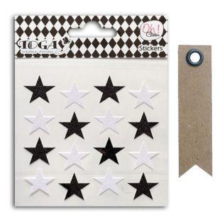 16 stickers étoiles à paillettes noir...