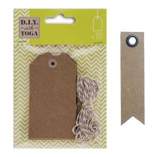 21 kraft labels with 2-tone string +...