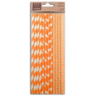 24 patterned paper straws - orange