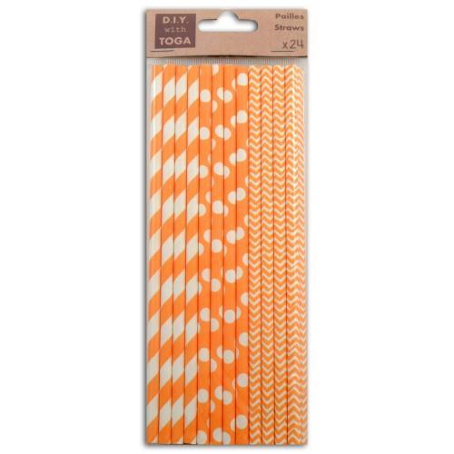 24 patterned paper straws - orange