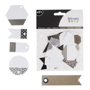 21 perforated labels - black & white...