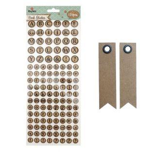 Round cork stickers - Alphabet in...