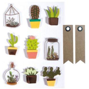 3D cactus & botanical stickers 4 cm x...