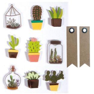 9 stickers 3D cactus & botanique 4 cm...