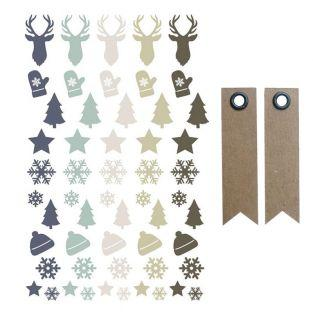 55 stickers epoxy Noël givré Cerf,...