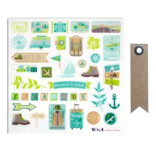 39 stickers epoxy Aventurier Escapade...
