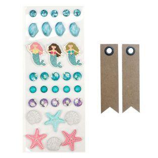 33 stickers 3D Mer + 20 étiquettes...