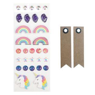 30 3D stickers - Rainbow + 20 pennant...
