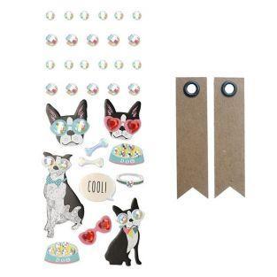 33 pegatinas 3D - Perro con gafas +...