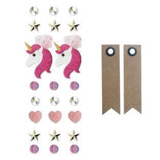 23 3D stickers - Unicorn + 20 pennant...
